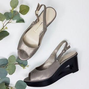 DANA BUCHMAN Peep Toe Metallic Slingback Heels 6M